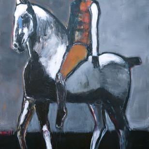 James Koskinas Rider on Gray Horse with Ochre 60 X 48,