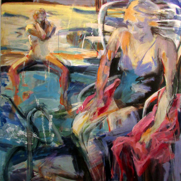 Marilyn Church The Pool 50 x 48 acrylic