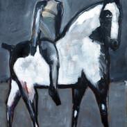 _ Gray Rider on White Horse, 60 X 48, ac