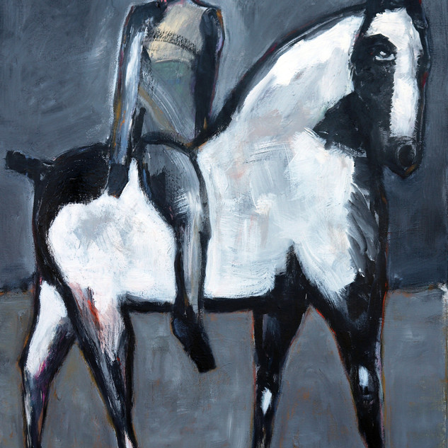 _ Gray Rider on White Horse, 60 X 48, ac