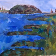 Beth Barry Landing Lane Acrylic on Canvas 11x14 framed