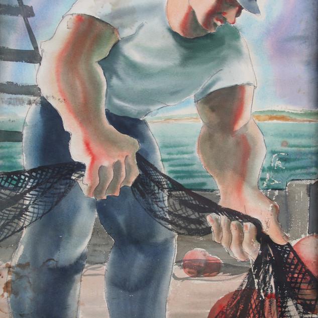 Fisherman 36.5x27.5 watercolor $2000 fra