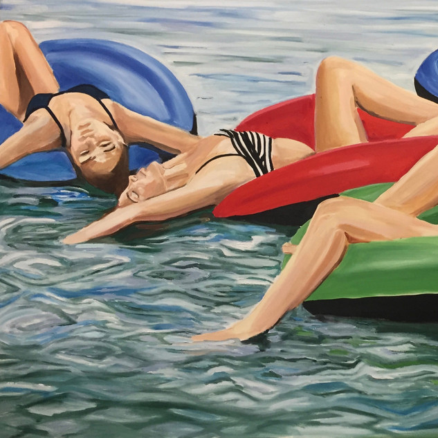 Angie Sinclair Restful Tubing ,oil on canvas,36 x 60,20