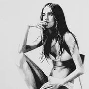 Cindy Press Resist Me, 12 x 9, ink & graphite on paper