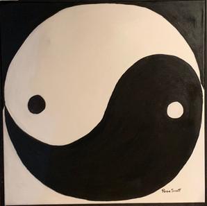 Yin and Yang 25x25 acrylic $500 Rosa Han