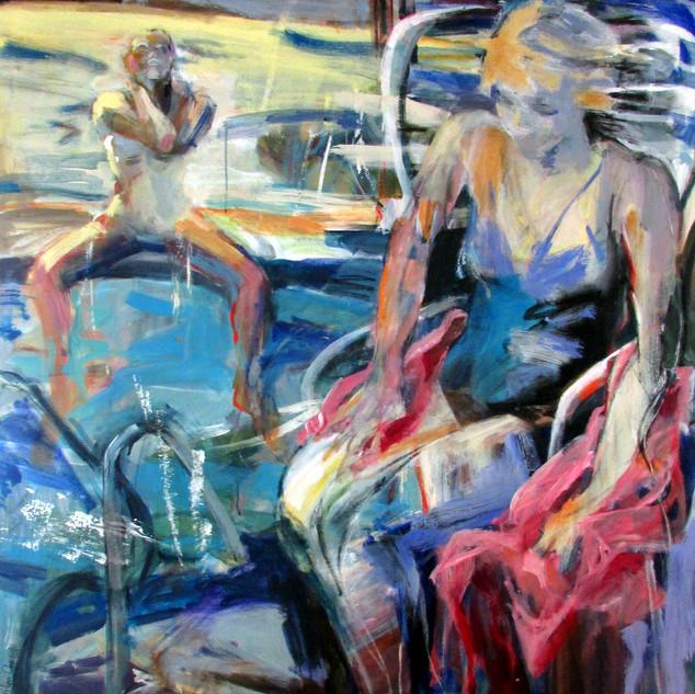 Marilyn Church The Pool  50x 48  acrylic