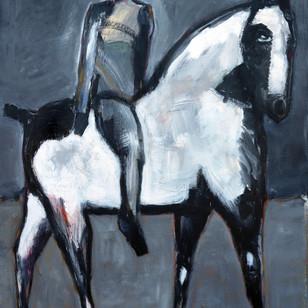 James Koskinas Gray Rider on White Horse, 60 X 48, ac