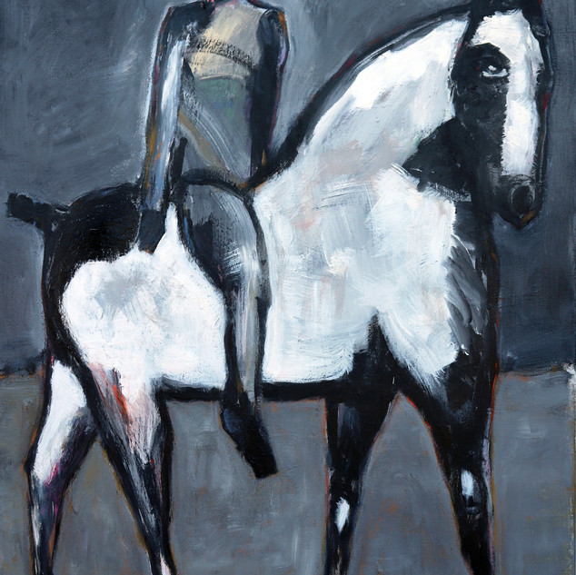 James Koskinas Gray Rider on White Horse, 60 X 48, ac
