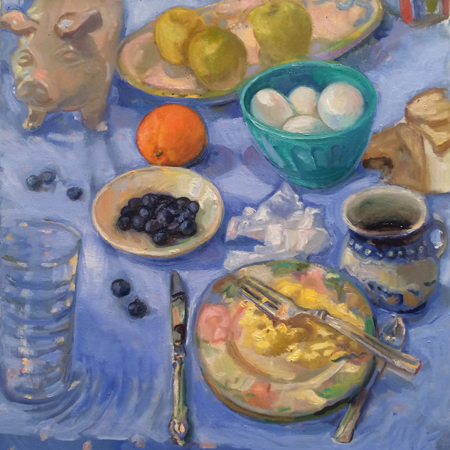 Lieberman Blue eggs and ham 16 x 16 oil