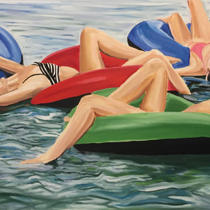 Restful Tubing ,oil on canvas,36 x 60,20
