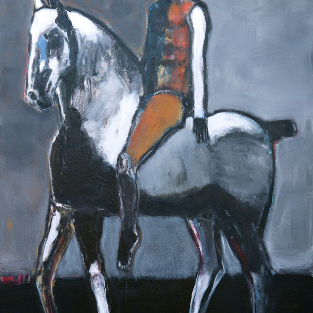 _Rider on Gray Horse with Ochre 60 X 48,