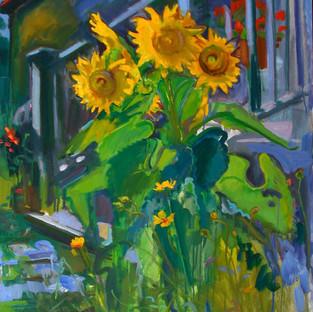 Bruce Lieberman hydra sunflower 46 x 30 oil .jpg