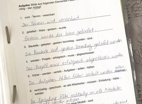 """Lösung zum Arbeitsblatt """"Wiederholung des Vorgangspassivs"""""""