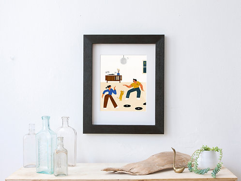 Record player art print - retro mid century art - vinyl collecting dancing to music