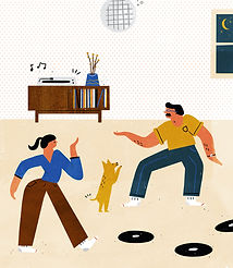 Retro Mid Century Modern Vinyl record print - Record player - Dancing to vinyl records - Husband and wife dancing - Family dancing to music - Record collecting - Vinyl records - Record Storage - Record player set up - Turntable - Turntable set up