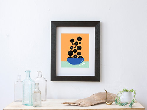 mid century modern style retro art print for vinyl lover - record collector