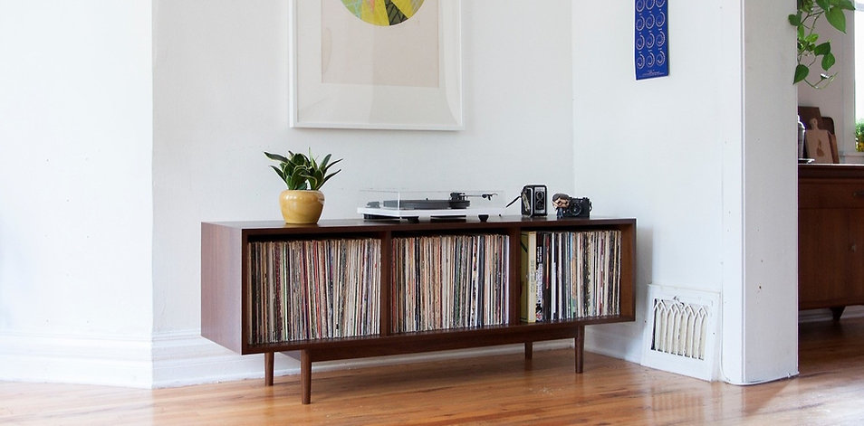 Large record storage cabinet turntable record player setup