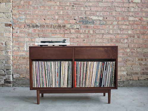 Handmade record storage cabinet with component and audio equipment storage