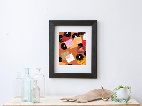 mid century modern inspired retro colorful art print - record collector - vinyl collection - album art