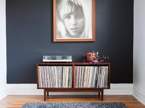Walnut turntable record player set up - vinyl storage - record storage