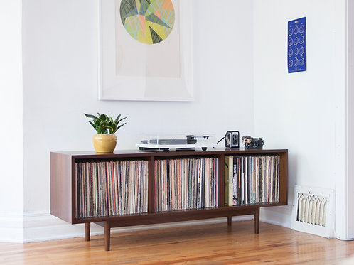 Mid Century inspired walnut record collection storage cabinet