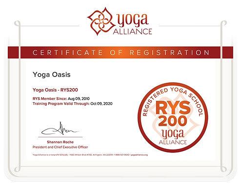 Yoga Oasis - RYS200     Certificate copy