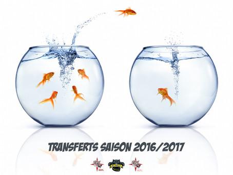 Les transferts de la saison 2016/2017 !