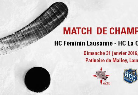HC Féminin Lausanne - HC La Chaux-de-Fonds / dimanche 31 janvier 2016, 10h30
