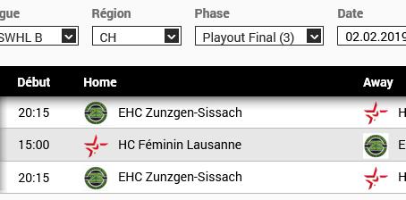 Dates des Playouts entre Zunzgen/ Sissach et Lausanne