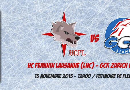 Match de Coupe Suisse ce dimanche 15 novembre à Fleurier contre Zürich (LNB)