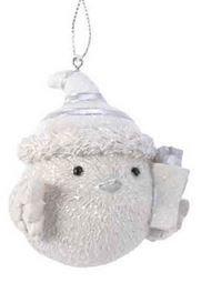 Oiseau poly a/bonnet /susp  bonnet blanc