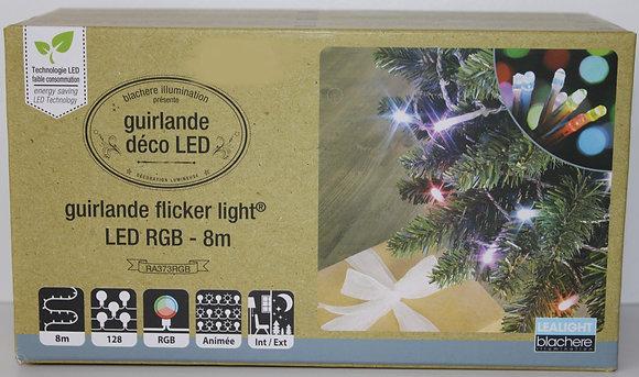 Guirlande led RGB multicolor fil blanc 8m
