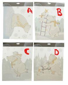 Deco fenetre ours blanc (1 motif au choix) blanc