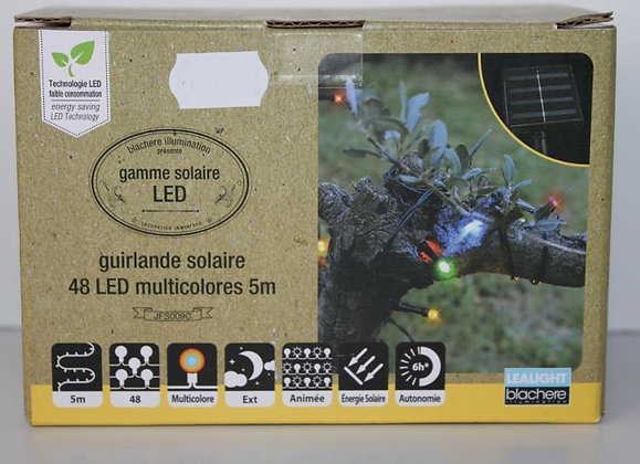 Guirlande solaire 48 led multicolor fil vert 5m