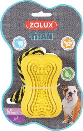 Jouet caoutchouc et corde Titan jaune Medium