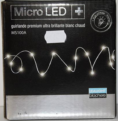 Guirlande micro led ultra brillant blanc chaud fil argent
