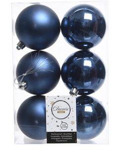 Boules plastique uni brill-mat bleu nuit x6