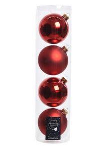 Boules mach uni brill mat rouge noël x4