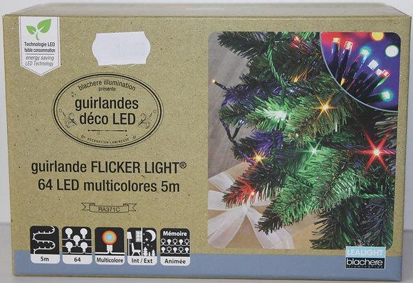 Guirlande led multicolor fil vert 16m
