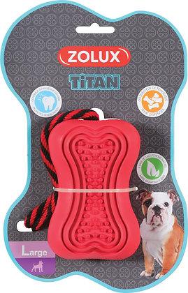 Jouet caoutchouc et corde Titan Large rouge