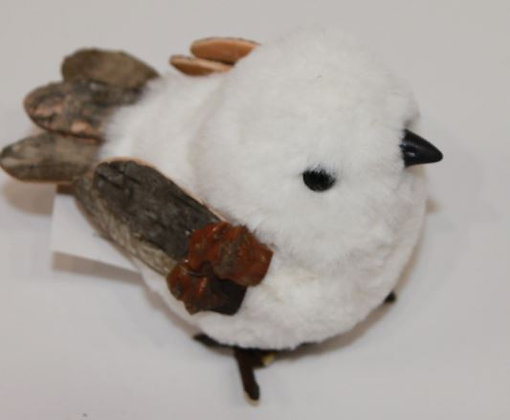 Figurine  Oiseau,  fausse fourure naturel/blanc