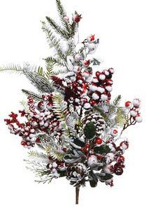 Branche deco baies rge givrees vert/blanc