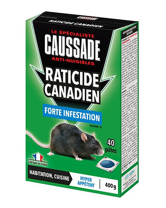 Raticide canadien forte infestation 40 pâtes 400g