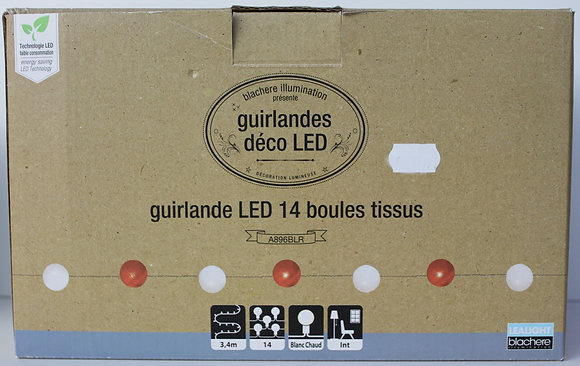 Guirlande led 14 boules tissus 3.4m