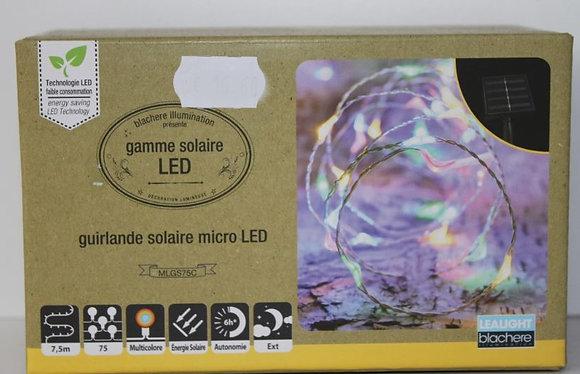 Guirlande solaire micro led multicolor fil blanc 7.5m