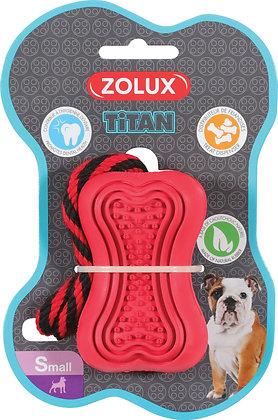 Jouet caoutchouc et corde Titan small rouge