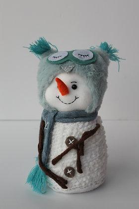 Bonhomme neige tissu blanc bleu