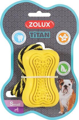 Jouet caoutchouc et corde Titan small jaune