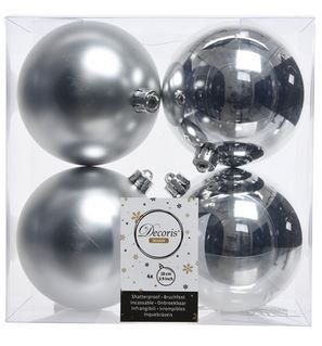 Boules plastique uni brill-mat argent x4