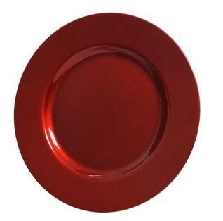 Assiette deco plastique rouge